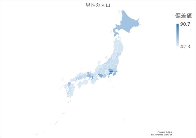 男性の人口のマップグラフ