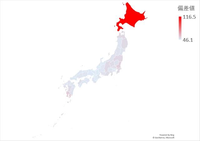 畑面積のマップグラフ