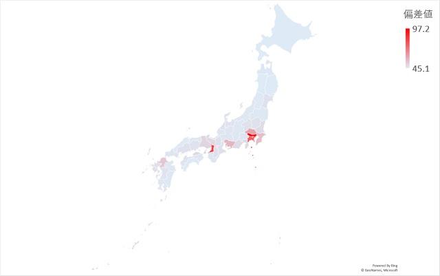 人口密度のマップグラフ