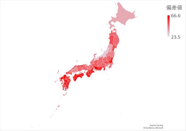 人工林の割合のマップグラフ