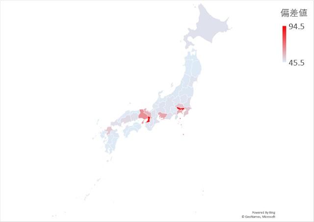 在日韓国人のマップグラフ