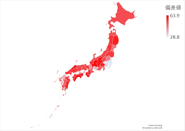 森林面積の割合のマップグラフ