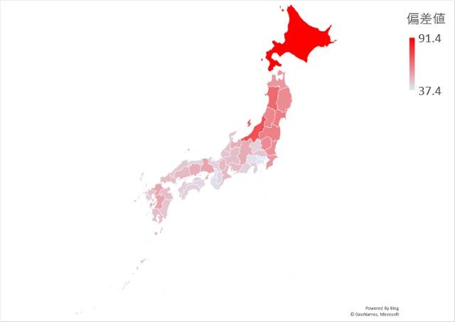 田面積のマップグラフ