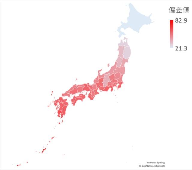平均気温のマップグラフ