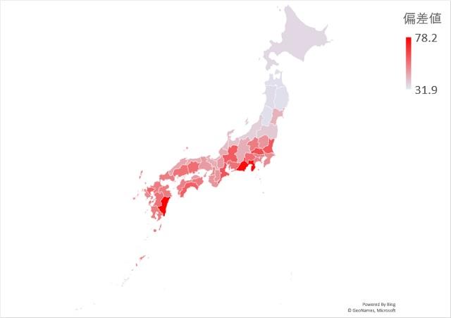 年間快晴日数のマップグラフ