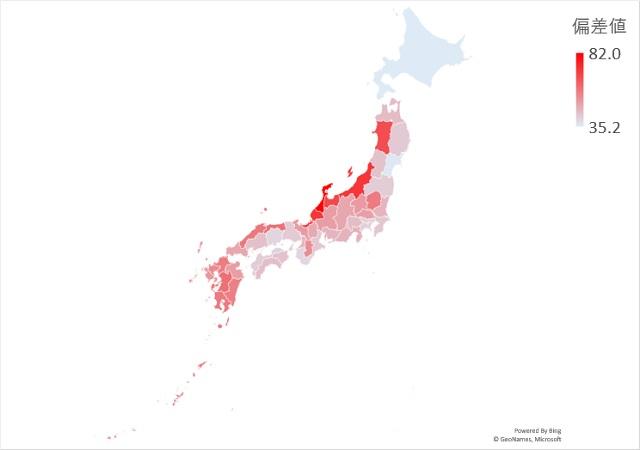 年間雷日数のマップグラフ