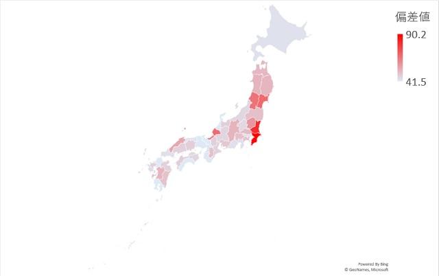 年間霧日数のマップグラフ