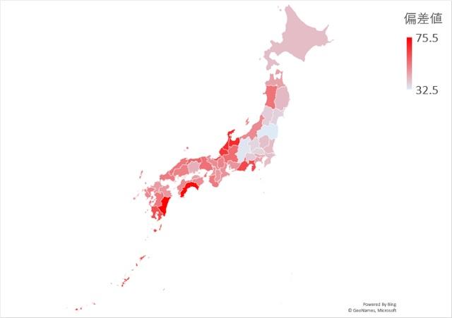 年間降水量のマップグラフ