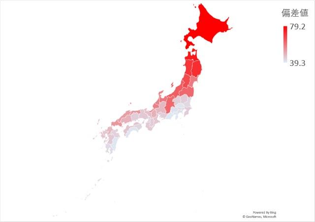 年間雪日数のマップグラフ
