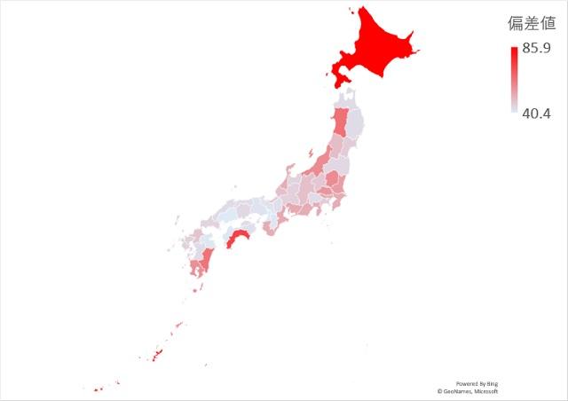 竜巻件数のマップグラフ