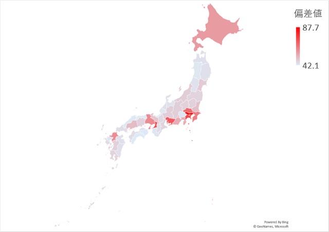 0~14歳の人口のマップグラフ