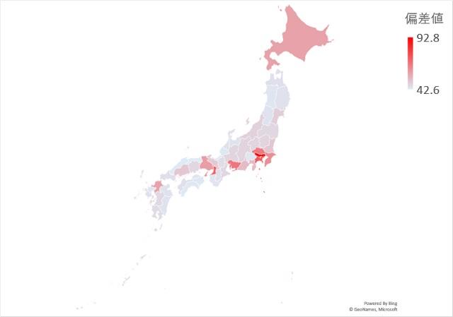 15~64歳の人口のマップグラフ
