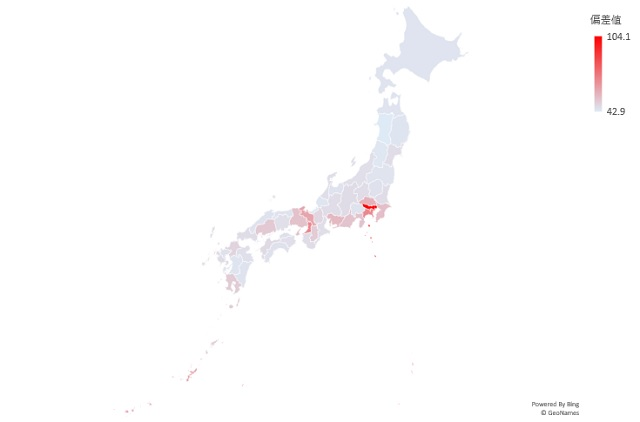 工業地の平均地価のマップグラフ