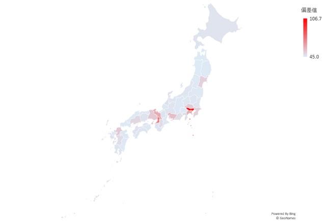 商業地の平均地価のマップグラフ